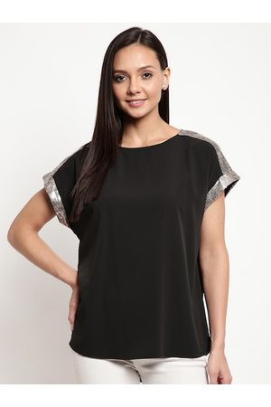 Mayra Women Black Sequined Sleeve Top
