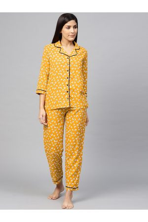 Yash Gallery Women Mustard Yellow & White Floral Printed Night suit
