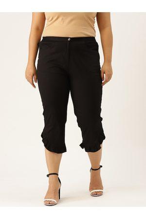 Revolution Women Plus Size Black Solid Regular Fit High Rise Capris