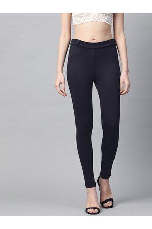 Sassafras Women Navy Blue Slim Fit Solid Treggings