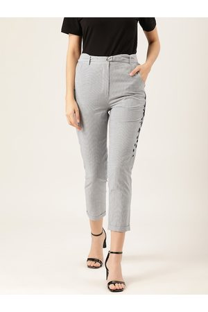 Quiero Women Navy Blue & White Smart Slim Fit Striped Regular Cropped Trousers
