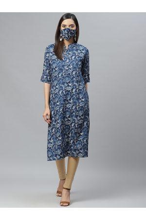 Cayman Women Navy Blue Printed Straight Kurta with Matching Mask
