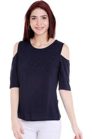 Style Quotient Women Navy Blue Solid Cold Shoulder Top