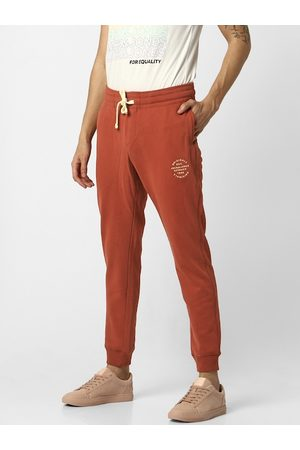 Jack & Jones Men Maroon Solid Straight Fit Track Pants