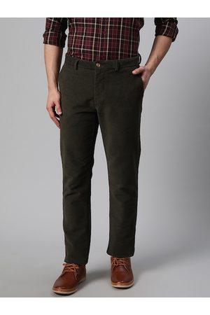 Blackberrys Men Olive Green Sharp Skinny Fit Self Design Regular Trousers