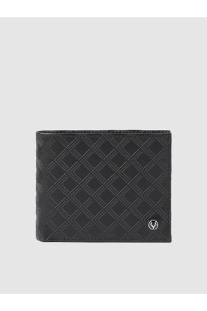 Allen Solly Men Black Textured Two Fold Leather Wallet