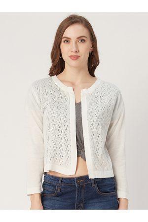 Style Quotient Women Off-White Self Design Open Front Shrug
