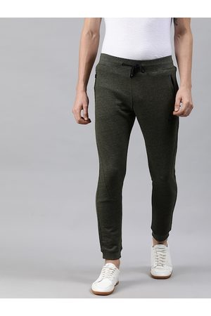 WROGN Men OLive Green Solid Slim Fit Joggers
