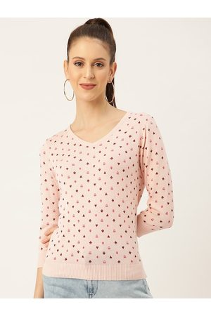Benetton Women Peach-Coloured Printed Pullover
