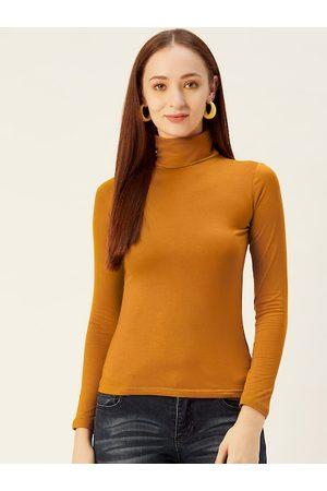 Sera Women Mustard Yellow Solid Turtle Neck T-shirt