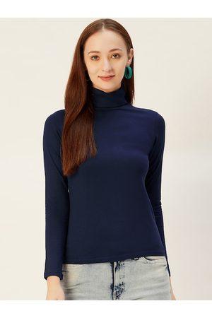 Sera Women Navy Blue Solid Turtle Neck T-shirt