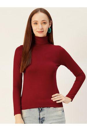 Sera Women Maroon Solid Turtle Neck T-shirt