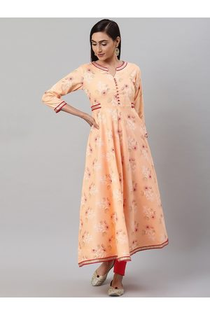 Yash Gallery Women Peach-Coloured & White Floral Printed Anarkali Kurta