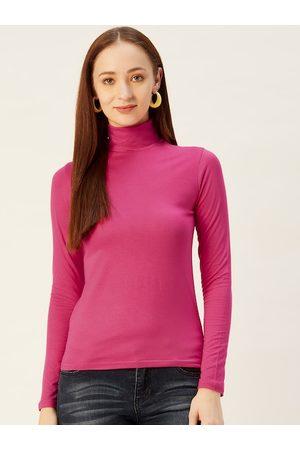 Sera Women Pink Solid High Neck Top