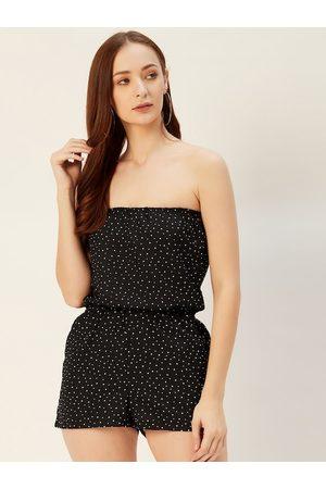Sera Women Black & White Polka Dot Print Playsuit