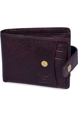 Hidelink Men Brown Solid Two Fold Wallet