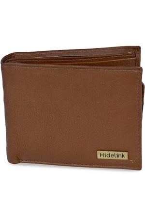 Hidelink Men Tan Brown Solid Two Fold Leather Wallet