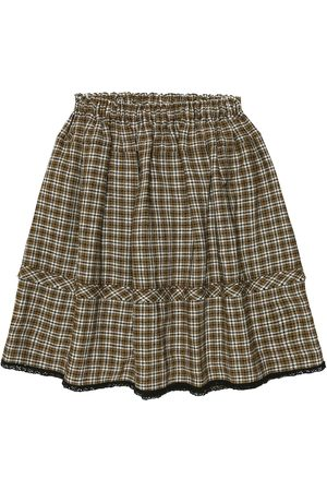 Caramel Checked wool-blend skirt