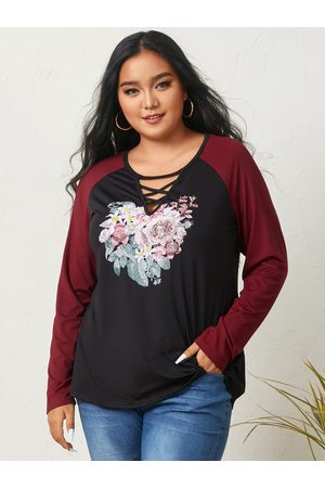YOINS Plus Size Round Neck Graphic Criss-cross Long Sleeves Tee