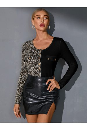 YOINS Leopard Patchwork Round Neck Long Sleeves Tee