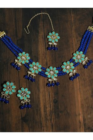 karatcart Gold-Plated Blue & Sea-Green Kundan & Stone-Studded Beaded Handcrafted Jewellery Set