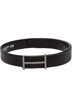 Carlton London Men Black Solid Leather Belt