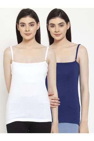 Friskers Women Pack of 2 Solid Cotton Rib Camisole E-02-05-S