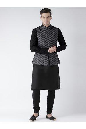 KISAH Men Grey Printed Kurta with Churidar & Nehru Jacket