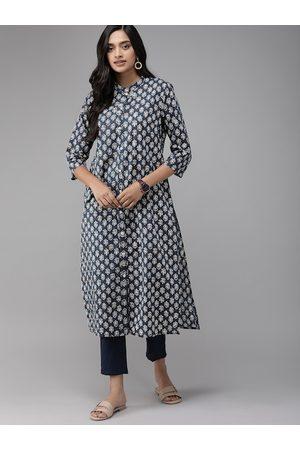 Anouk Women Blue & White Printed Kurta with Trousers