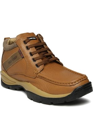 Red Chief Men Brown Textured Leather Mid-Top Derby Casual Shoes