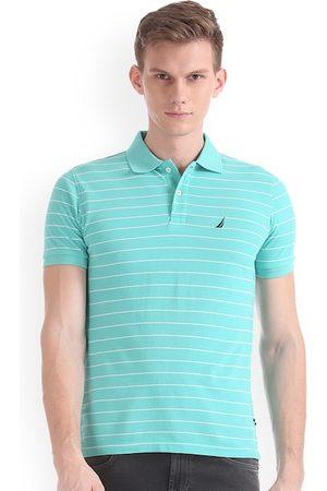 Nautica Men Green Striped Polo Collar T-shirt