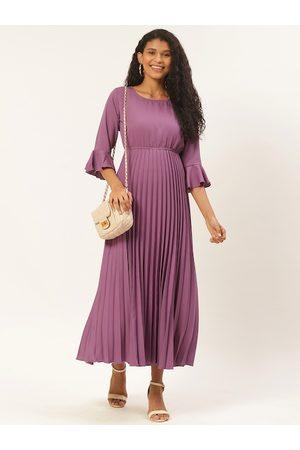 U&F Women Purple Solid Accordion Pleated Maxi Dress