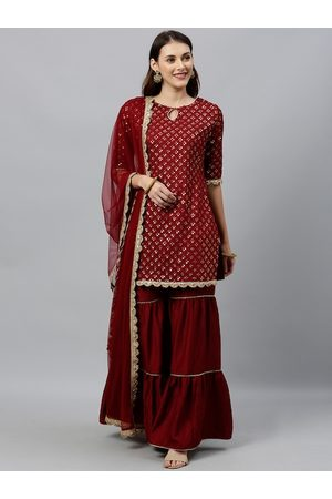 Inddus Women Maroon & Gold-Toned Embroidered Kurta with Sharara & Dupatta