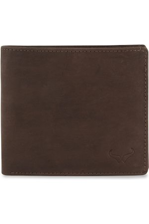 Bern Men Brown Solid Two Fold Leather Wallet