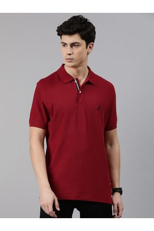 Nautica Men Red Solid Slim Fit Polo Collar T-shirt
