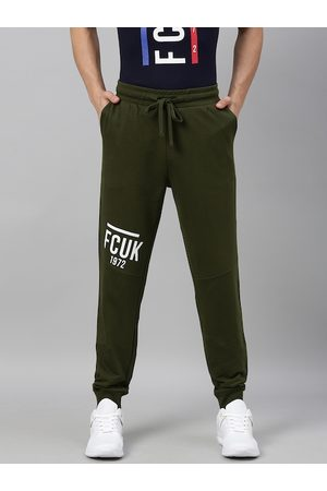 French Connection Men Olive Green & White Slim Fit EAST COAST Printed Joggers