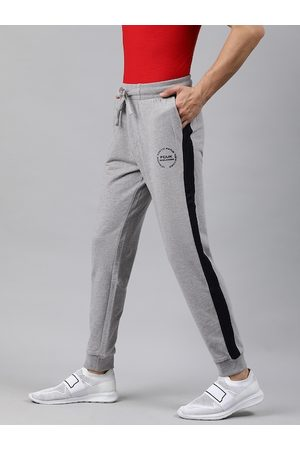 French Connection Men Grey Melange Solid Slim Fit Joggers with Side Striped Detail