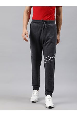 French Connection Men Charcoal Grey Solid Slim Fit Joggers with Printed Detail