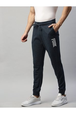 French Connection Men Navy Blue Solid Slim Fit Joggers with Print Detail