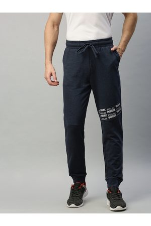 French Connection Men Navy Blue Solid Slim Fit Joggers with Printed Details