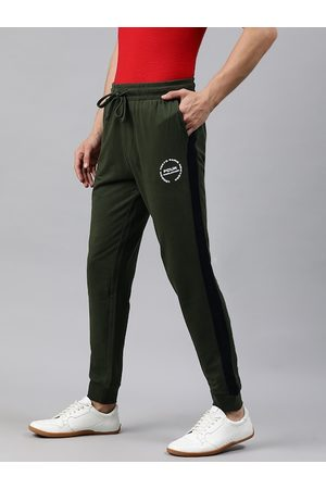 French Connection Men Olive Green Solid Slim Fit Joggers