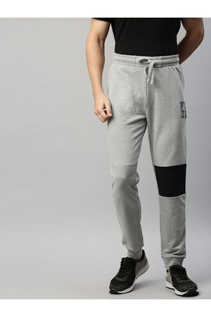 French Connection Men Grey Solid Slim Fit Joggers with Print Detail