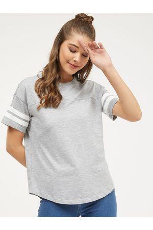 Harpa Women Grey Striped Round Neck T-shirt