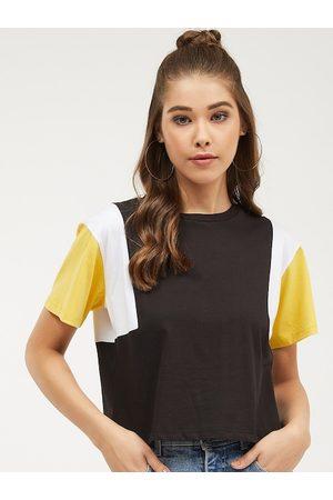 Harpa Women Black Colourblocked Round Neck T-shirt