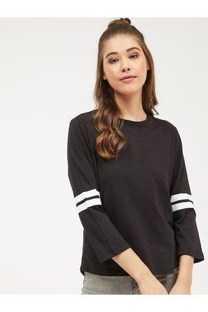 Harpa Women Black Solid Round Neck T-shirt