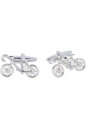 shaze Silver-Toned Quirky Bicycle Cufflinks