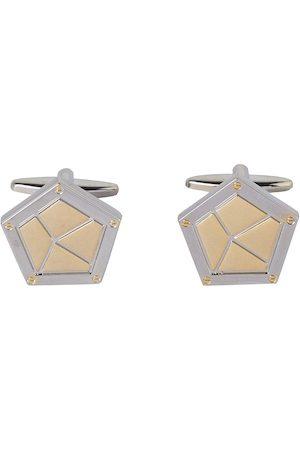 shaze Gold-Toned & Silver-Toned Geometric Shield Cufflinks