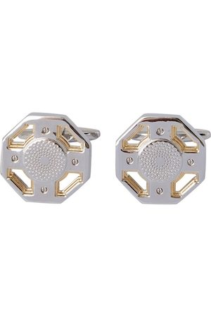 shaze Silver-Toned & Gold-Toned Quirky Steer Wheel Cufflinks