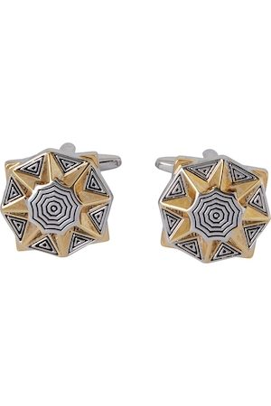 shaze Gold-Toned & Silver-Toned Quirky Hypnotic Cufflinks