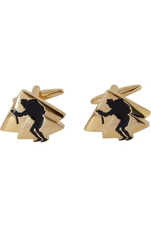 shaze Gold-Toned & Black Quirky 2 Pyramid Cufflinks